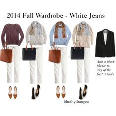 """Fall Wardrobe - White Jeans"" by bluehydrangea on Polyvore"