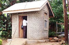"Cut costs with a plastic bottle house - The technology for this house in Uganda could be used anywhere - not just developing countries. ""cob or adobe can be used as mortar to bind the bottles...it is estimated that a plastic bottle takes approximately 300 years to decompose. When the bottles are filled with moist soil or other dark material, the wall can function as a thermal mass, absorbing solar radiation during the day and radiating it back into the atmosphere at night."""
