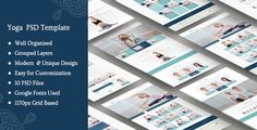 """Harmony Yoga Creative PSD Template . The """"Harmony Yoga Creative PSD Template"""" is a creative, unique & modern one page, multi page and multi-purpose template. Specially made for yoga and meditation, this is also perfect for welnes and spa, fitness and health care business.It contains 10 PSD files which have been well"""