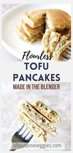 Start your morning with these protein-packed, healthy tofu pancakes. Gluten-free and flourless, these breakfast stacks are made with tofu and oatmeal as the main ingredient which is the secret to making them fluffy and tender. The best part? It's all made in the blender! #glutenfree #breakfastideas #healthybreakfast #pancakes #flourless #easyrecipes Tofu Breakfast, Quick Healthy Breakfast, Healthy Muffins, Healthy Breakfasts, Best Gluten Free Recipes, Quick Bread Recipes, Real Food Recipes, Yummy Food, Brunch Recipes