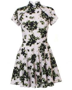 LOVE Beige And Black Floral Print Oriental Dress