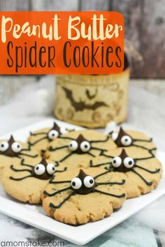 Peanut Butter Spider Cookies - a cute and easy Halloween treat recipe!