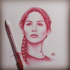 Katniss Everdeen, drawn with ballpoint pen ❤