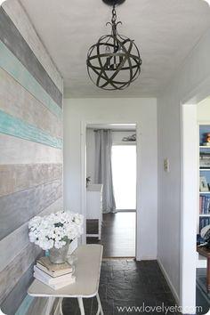 DIY Plank Wall in Foyer