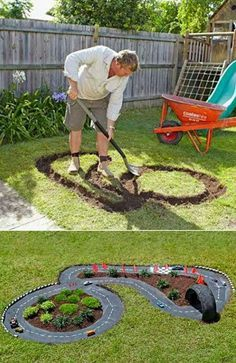 Garden race track for boys - made from cement that was painted black. This is a sure way to get your boys of the couch and out in the garden.