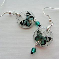 butterfly earrings resin earrings specimen series by underglass, $17.00