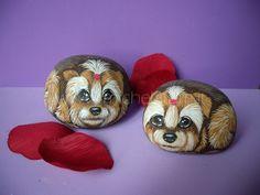 Sassi dipinti - Cani yorkshire