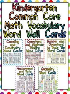 Kindergarten Common Core Math Vocabulary Word Wall Cards :)  $
