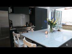Tanya Burr & Jim Chapman's new kitchen Love the quartz top and handle pulls Home Decor Kitchen, Kitchen And Bath, Kitchen Interior, New Kitchen, Home Kitchens, Kitchen Dining, Kitchen Ideas, Kitchen Inspiration, Dining Room