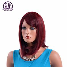 MSIWIGS Medium Straight High Temperature Fiber Wigs for Women Natural Red Burgundy Synthetic Hair Ombre Wig with Side Fringe