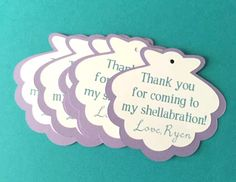 This listing is for a 16 sea shell thank you tags for an under the sea shellabration! They will come pre hole punched ready for you to tie on
