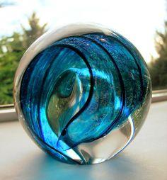 2010 Tim Lazer Signed Wave Dichroic Paperweight Hand Blown Aqua Studio Art Glass