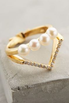 Gold Philosophy Pearled Tiara Ring #anthrofave