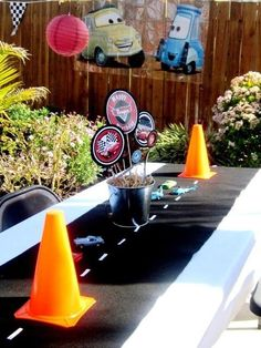Road table runner with cones for cars birthday (could also do construction)