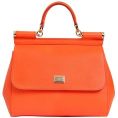 Dolce & Gabbana Women Medium Sicily Dauphine Leather Bag ($1,240) ❤ liked on Polyvore featuring bags, handbags, shoulder bags, mandarin orange, 100 leather handbags, dolce&gabbana, orange leather purse, leather purse and dolce gabbana shoulder bag