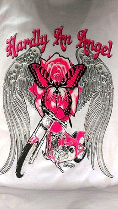 HARDLY AN ANGEL Women's Baby Doll V-Neck Shirt. Great Womens Clothing For Harley Davidson Riding on Etsy, $19.33 CAD