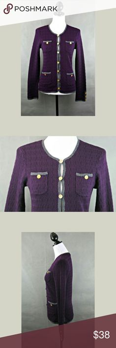 """💸 SALE Trina Turk Vermouth cardigan Approximate measurements Top of shoulder to hem: ~24"""" Bust laying flat: ~16"""" Waist laying flat: ~15""""  Deep purple Vermouth cardigan from Trina Turk. Some pilling, see pictures. Size small. Trina Turk Sweaters Cardigans"""