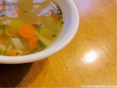 Homemade chicken soup with your own stock, made in just a couple of hours with a pressure cooker -yum!