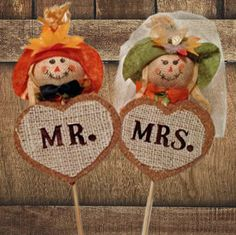 scarecrow wedding cake topperautumn leaves by AlltheBestCardBoxes