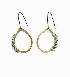 Beaded Brass Hoop Earrings   Jewelry Earrings   AMiRA Jewelry   Scoutmob Shoppe   Product Detail