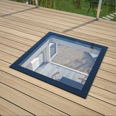StepGlass Walk On Glass Flat Rooflight / Skylight / Lantern for Flat Roofs & Basements & Terraces Retractable Pergola, Diy Pergola, Pergola Ideas, Pergola Curtains, Glass Roof Extension, Flat Roof Shed, Walking On Glass, Contemporary Garden Rooms, Conservatory Design