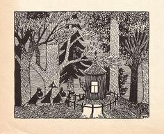 Muumi tarjotin Moomin Cottage in the wood Art And Illustration, Ink Illustrations, Tove Jansson, Moomin Valley, Weird Creatures, Line Art, Illustrators, Art Drawings, Poster