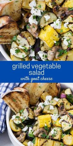 Tender marinated zucchini, summer squash, mushrooms, and red onions are grilled to smoky perfection, and topped with tangy goat cheese in this delish grilled vegetable salad. Serve it as a salad, a side dish, or a light summer entree. Healthy Salad Recipes, Lunch Recipes, Whole Food Recipes, Vegetarian Recipes, Healthy Dinners, Grilled Vegetable Salads, Grilled Vegetables, Summer Entrees, Grilling Recipes