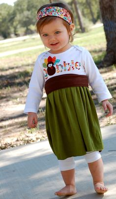 Little girl fall Thanksgiving dress - for toddlers and babies - autumn dress - olive green, brown, red, orange, yellow, turquoise, turkey