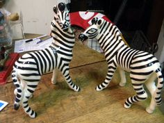 big fantastic mid century pair of ROBERT SIMMONS CALIFORNIA ceramic pottery figurine zebras zig and zag.