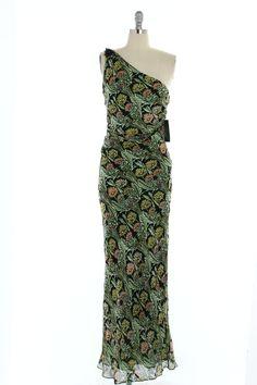 Kay Unger Black Floral One Shoulder Formal Dress - $135