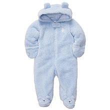 Carter's Boys Blue Bear Hooded Velboa Pram with Applique and Foot Art