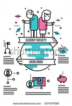 Elderly Society info graphics and icons.flat thin line design elements. Flat Design Illustration, Line Illustration, Character Illustration, Illustrations, Flat Design Icons, Icon Design, People Logo, Outline Designs, Pictogram