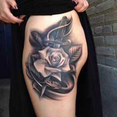 Tattoo dagger with a white Rose woman