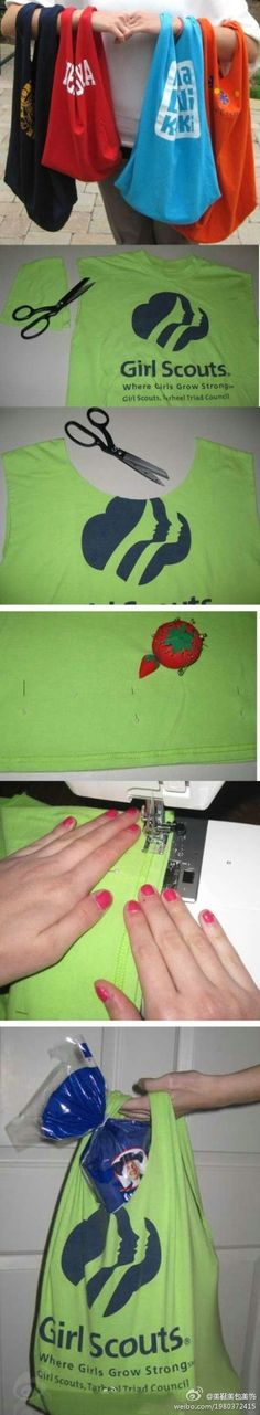 Repurpose old t-shirts by making reusable bags from them. @Debbie Wegener - just like your aunt makes!  I love mine, btw!
