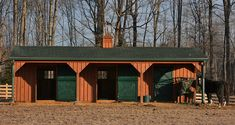 This 12x36 Shedrow barn located in Virginia has 3 - 12x12 stalls and an 8' overhang/leanto. Look closely and you'll see this customer added rain gutters on the front of the barn. A great way to move water AWAY from high-traffic areas!