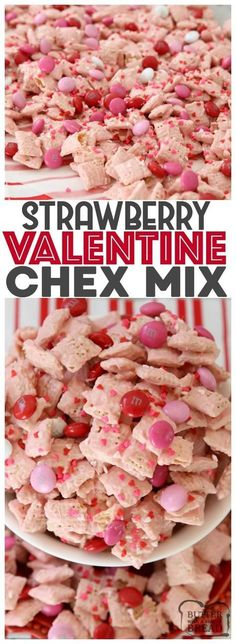 Strawberry Valentine Chex Mix is easy to make fun &. Strawberry Valentine Chex Mix is easy to make fun & perfectly festive for Day! white coating on Chex cereal with added chocolate is the perfect sweet from Butter With A Side of Bread Valentine Desserts, Valentines Day Treats, My Funny Valentine, Holiday Treats, Holiday Recipes, Valentine Chocolate, Valentines Recipes, Kids Valentines, Valentine Party