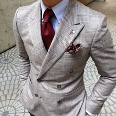 Plaid w/dotted pocket square