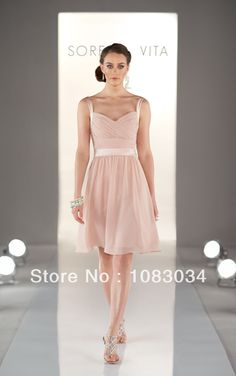 2014New Simple Blush Chiffon A-line Spaghetti Strap Short Bridesmaid Dress Fresh Design Pleats Straps Knee-length Party Dress US $89.00