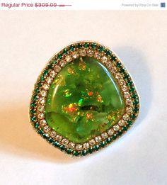 SPRING SALE Amazing Slocum Opal and crystal by YaronaJewelryDesign