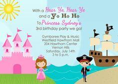Princess and Pirate Birthday Invitation. $15.00, via Etsy.