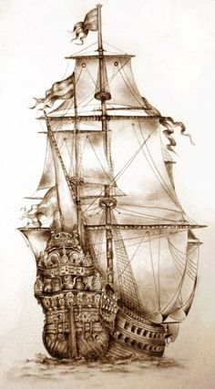 Trendy Tattoo Old School Ship Pirates Amazing Drawings, Beautiful Drawings, Tattoo Drawings, Pencil Drawings, Tattoo Sketches, Tattoo Ink, Arm Tattoo, Art Drawings, Pirate Ship Drawing