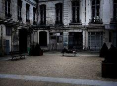 architecture, bench, building, courtyard, dark, gothic