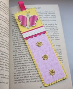 Little Butterfly Bookmark - Pink and Yellow by Crafty Mushroom