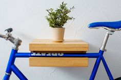 Wooden rack for a bicycle/ Minimalist bicycle shelf by VeloPolka