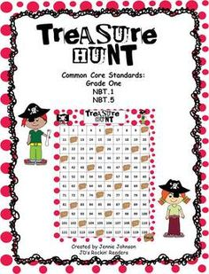 Make your way to the treasure using a 120 chart.  Students have to find and identify numbers up to 120 as well as add/subtract 10.Grade One com...