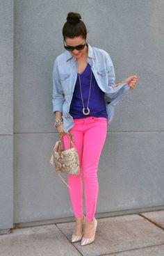 eecc7de8eb4e coral neon pants Colored Jeans Outfits