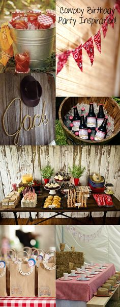 Baby Shower Invitations, Wedding Invitations, Bridal Shower Invites & more Ideas to use: a) drinks in jars b) bunting banner c) rope lettering d) root beer e) paper bags for party favors f) spread of finger foods<br> Cowboy Theme Party, Cowboy Birthday Party, Farm Birthday, Farm Party, 3rd Birthday Parties, Country Birthday Party, Cowboy Party Decorations, Birthday Ideas, Horse Birthday