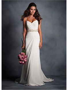 Spaghetti Straps Chiffon Floor Length Wedding Dress In Sheath Design