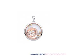 Solid silver & rose gold on silver sapphire glass cubic flower pendant €99 with a solid silver chain www.jewellerytoyourdoor.com