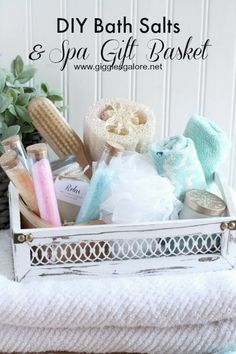 DIY Bath Salts and Spa Gift Basket, the perfect Mother's Day gift.